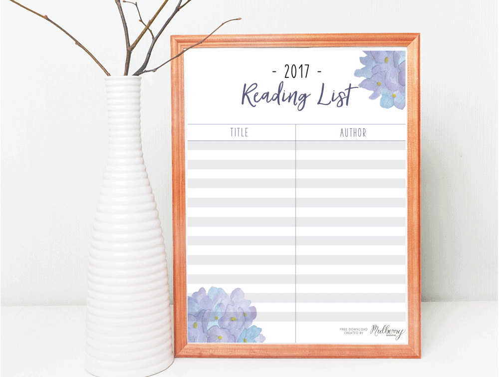 free 2017 reading list template printable download