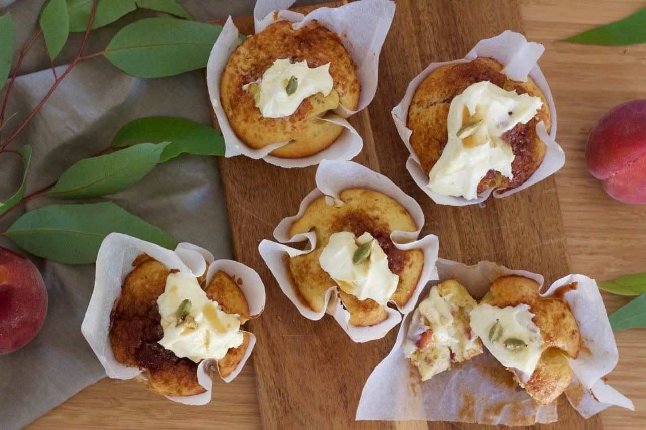 Peach and cardamom muffins